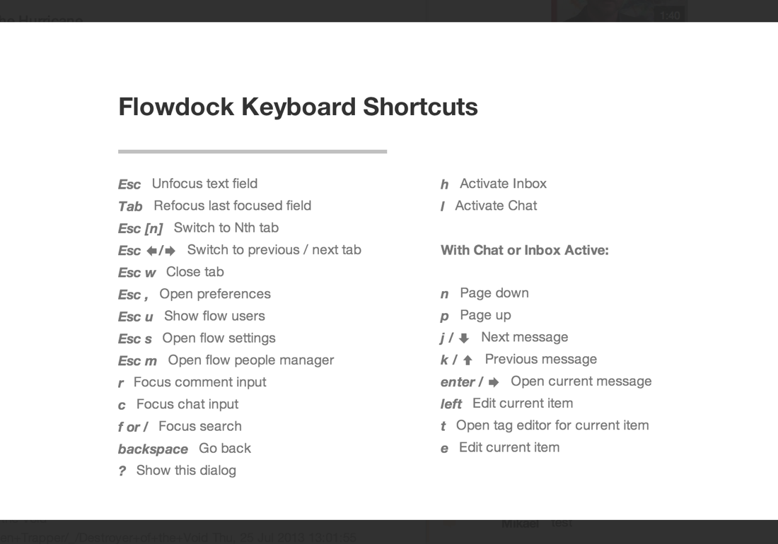Flowdock keyboard shortcuts
