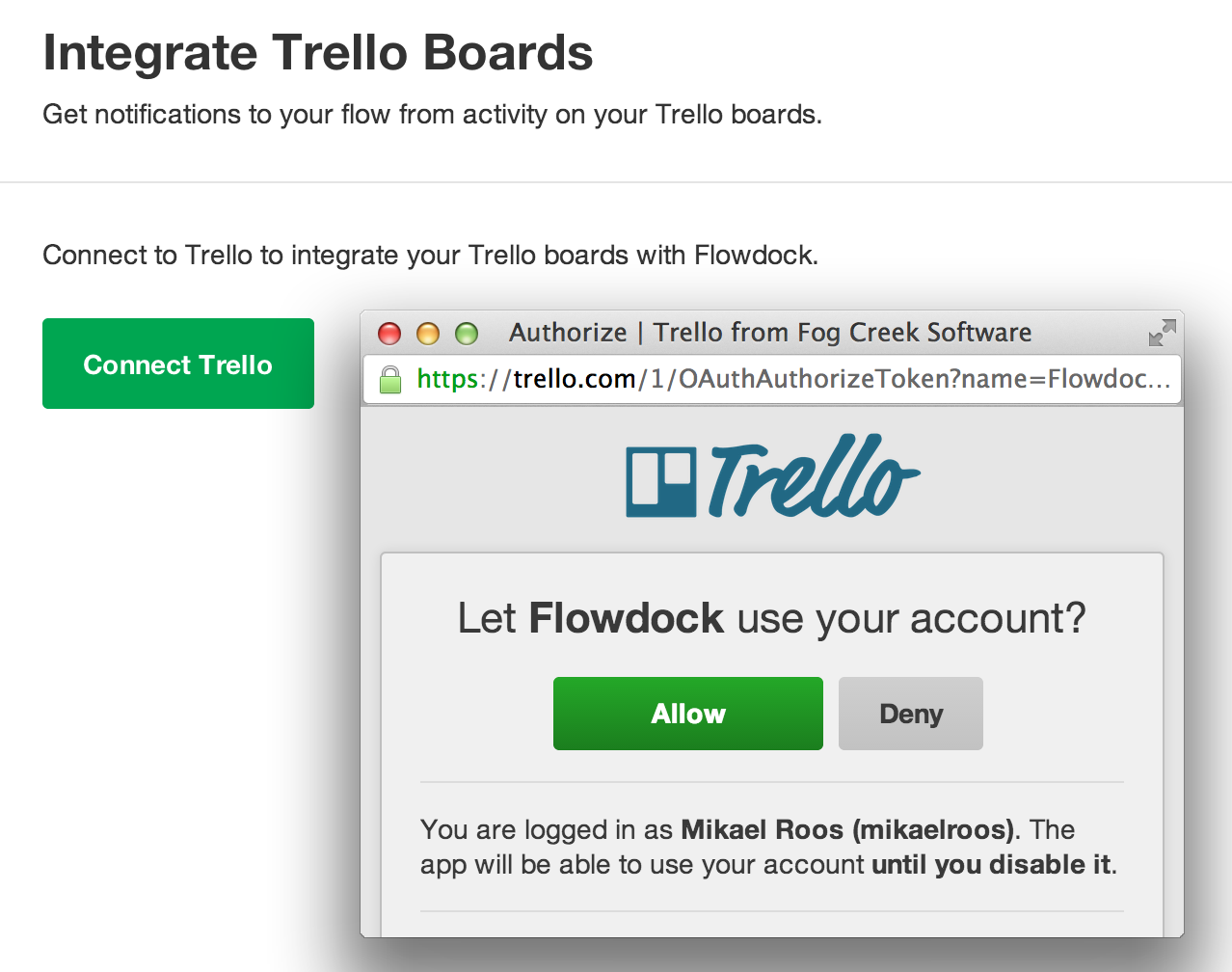Trello integration setup screen