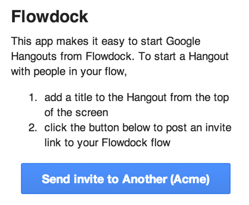 Flowdock Google Hangouts App Connect Screen