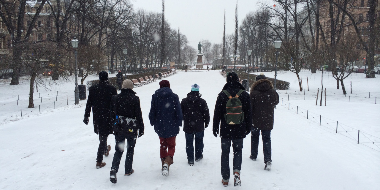 Ploughing forward in wintry Helsinki