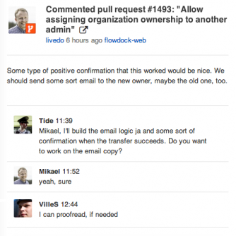 GitHub pull requests in Flowdock