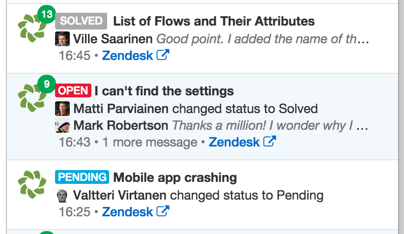 Status visible in the team inbox