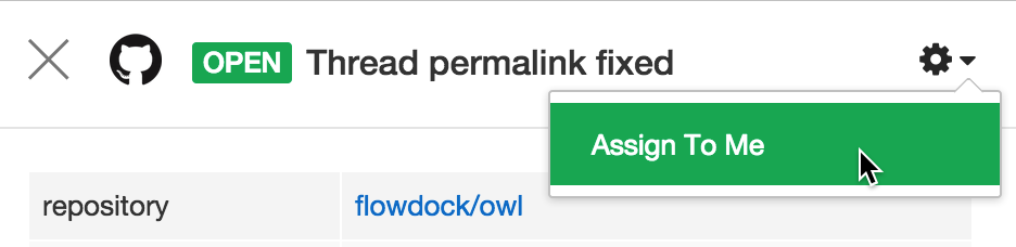 Flowdock GitHub pull request assign to me