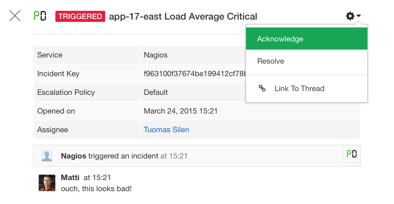 Acknowledge PagerDuty incidents from Flowdock