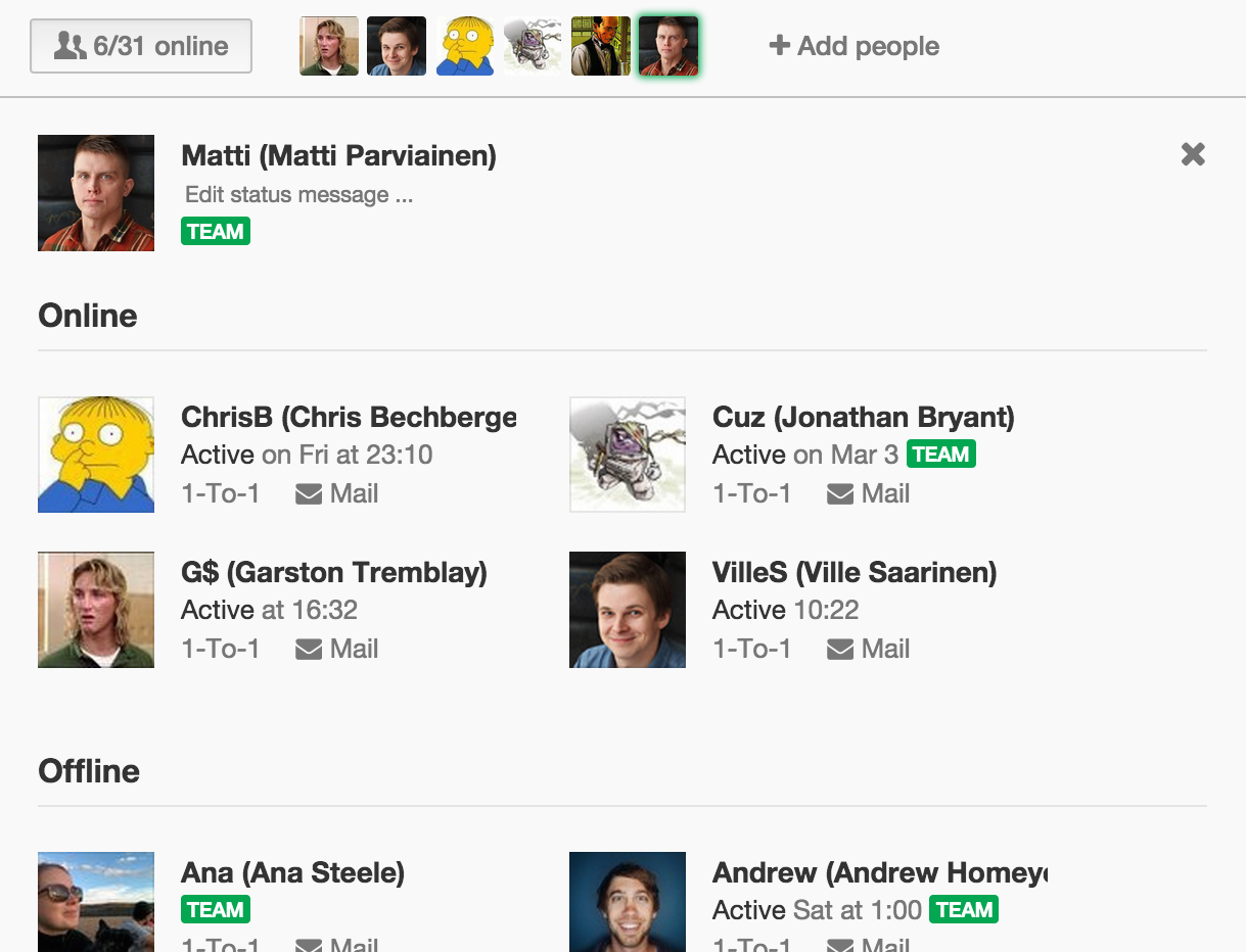 User list shows who belong to @team and who don't